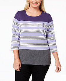 Karen Scott Plus Size Chloe Striped Top, Created for Macy's