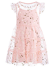 Epic Threads Little Girls Flutter-Sleeve Star-Print Dress, Created for Macy's