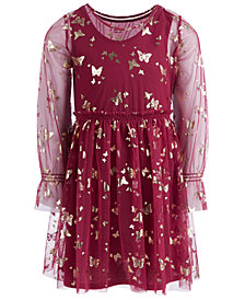 Epic Threads Little Girls Butterfly-Print Mesh Dress, Created for Macy's