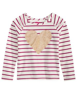Epic Threads Toddler Girls Striped Heart-Print T-Shirt, Created for Macy's