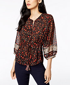 John Paul Richard Petite Printed Tassel-Front Shirt