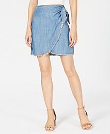 Sage The Label Denim Faux-Wrap Skirt