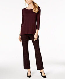 Alfani Mixed-Media Top & Jacquard Trousers, Created for Macy's