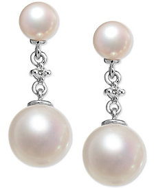 Cultured Freshwater Pearl (8 & 5mm) & Diamond Accent Drop Earrings in 14k White Gold