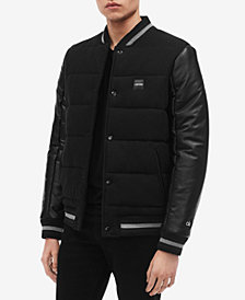 Calvin Klein Men's Mix-Media Varsity Jacket