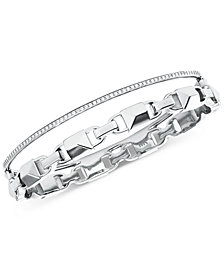 Michael Kors Women's Mercer Link Double Row Sterling Silver Bracelet