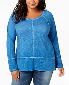 Style & Co Plus Size Washed High-Low Hem Top, Created for Macy's