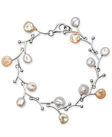 White & Pink Keshi Freshwater Pearl (7mm) Bracelet in Sterling Silver