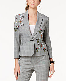 Nine West Embroidered Plaid Blazer