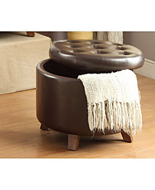 Faux Leather Round Ottoman, Brown