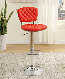 Deep Tufted Faux Leather Bar Stools, Red