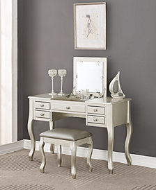 Vanity Set with Stool, Silver-Tone