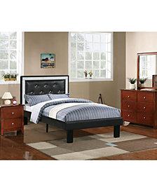 Twin Bed with Ash Black Faux Leather Frame