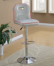 Bar Stool with Piping Trim, Set of 2, Silver-Tone