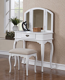 Vanity Set with Stool, White