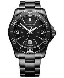 Men's Swiss Maverick Black Edition Black PVD Stainless Steel Bracelet Watch 43mm