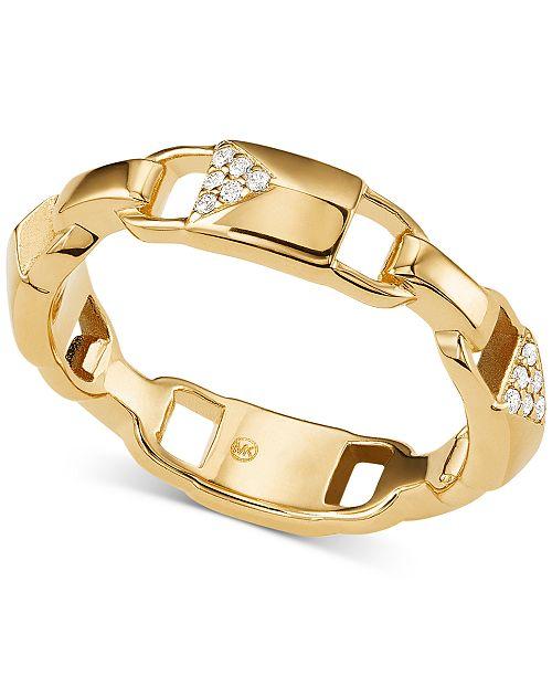 Michael Kors Women's Mercer Link Sterling Silver Padlock Ring