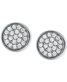 Women's Sterling Silver Pavé Studs