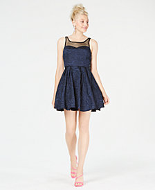 Trixxi Juniors' Illusion & Rose Textured Fit & Flare Dress