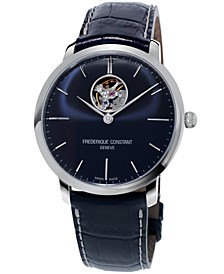 Men's Swiss Automatic Slimline Heartbeat Blue Leather Strap Watch 40mm