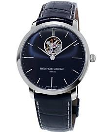 Frederique Constant Men's Swiss Automatic Slimline Heartbeat Blue Leather Strap Watch 40mm