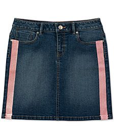 Calvin Klein Big Girls Glitter-Stripe Denim Skirt