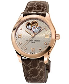 Frederique Constant Women's Swiss Automatic Diamond-Accent Brown Alligator Leather Strap Watch 36mm