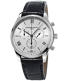 Men's Swiss Chronograph Classics Black Leather Strap Watch 40mm