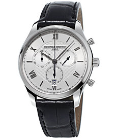 Frederique Constant Men's Swiss Chronograph Classics Black Leather Strap Watch 40mm