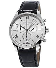 Frederique Constant Men's Swiss Chronograph Classics Black Leather Strap Watch 40mm