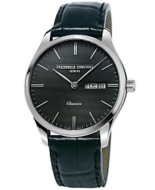Frederique Constant Men's Swiss Classic Black Leather Strap Watch 40mm