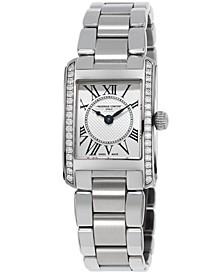 Women's Swiss Carree Diamond (2/5 ct. t.w.) Stainless Steel Bracelet Watch 23x21mm