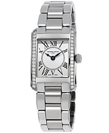 Frederique Constant Women's Swiss Carree Diamond (2/5 ct. t.w.) Stainless Steel Bracelet Watch 23x21mm