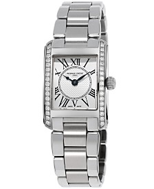 Frederique Constant Women's Swiss Carree Diamond (2/5 ct. t.w.) Stainless Steel Bracelet Watch 23x21mm