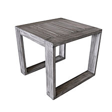 Courtyard Casual Driftwood Teak Modern North Shore Outdoor Side Table