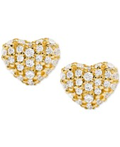 8f5c5e1c2 Michael Kors Women's Kors Love Pavé Heart Sterling Silver Stud Earrings