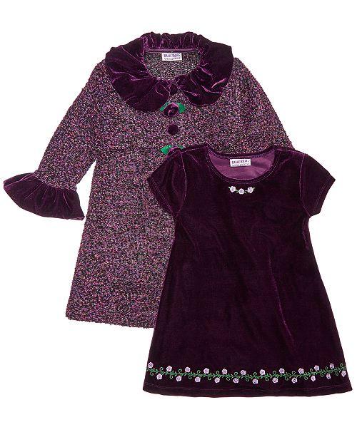 5323ee078a12 Blueberi Boulevard Toddler Girls 2-Pc. Tweed Coat & Embroidered Dress Set  ...