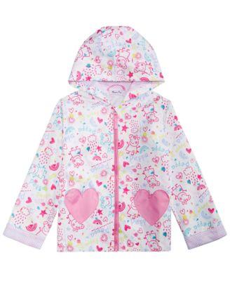 Kids Girls Windbreaker Jacket Contrast Sleeve Baby Pink Hooded Rain Mac Raincoat