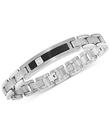 Men's Diamond Accent ID Bracelet in 14k White Gold, Titanium and Black Ion-Plate