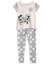 Disney Little Girls 2-Pc. Mickey & Minnie Mouse Top & Leggings Set