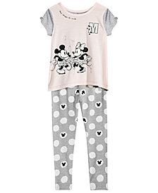Disney Little Girls 2-Pc. Mickey & Minnie Mouse Top & Leggings Set