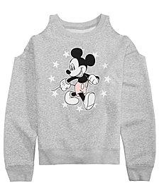 Disney Big Girls Mickey Mouse Cold Shoulder Sweatshirt
