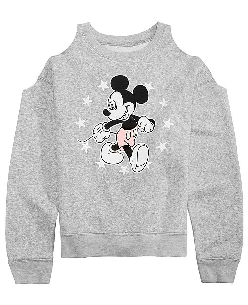 b6c114c1 Evy of California Disney Big Girls Mickey Mouse Cold Shoulder Sweatshirt