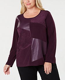 Calvin Klein Plus Size Patchwork Long-Sleeve Top