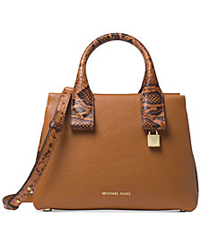 MICHAEL Michael Kors Rollins Small Python-Embossed Satchel