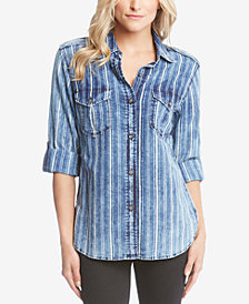 Karen Kane Cotton Striped Roll-Tab Shirt