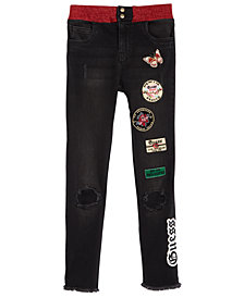 GUESS Big Girls Patched Elastic-Waist Jeans