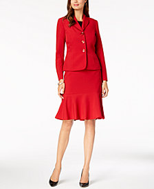 Le Suit Three-Button Crepe Skirt Suit