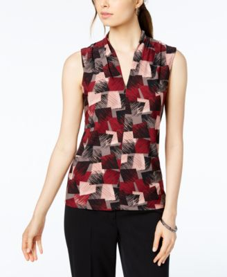 Printed Inverted Pleat-Neck Shell