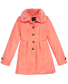 Jessica Simpson Little Girls Coat with Removable Faux-Fur Collar